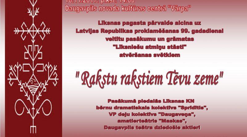 """Latvijas Republikas proklamēšanas gadadienas un grāmatas """"Līksniešu atmiņu stāsti"""" atvēršanas pasākums"""