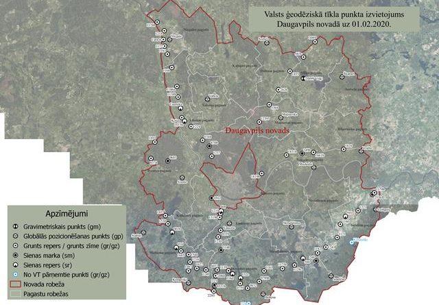 Valsts ģeodēziskā tīkla punkta izvietojums Daugavpils novadā uz 01.02.2020.
